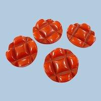 Large Orange  Carved Bakelite Buttons