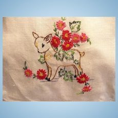 Baby Deer Flowers  Embroidered Guest Towel