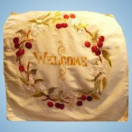 Welcome Embroidred Textile
