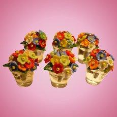 Czech Glass Flowerpot Placecard Holders