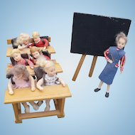 Erma Meyer Teacher Students Desks Miniature Figures
