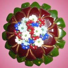 Floral Bakelite Pin