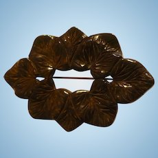 Bakelite Carved Leaf Pin