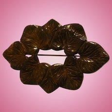 Bakelite Carved Leaf Pin