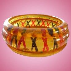 Set Reverse Carved Bakelite Bracelets