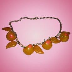 Bakelite Peaches Necklace