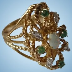 14K Opal emerald Cocktail Ring