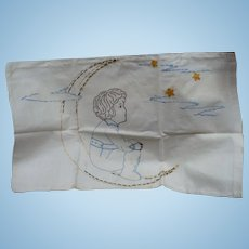 Moon Stars Embroidered Pillowcase