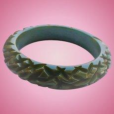 Carved Green Bakelite Bracelet