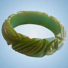 Green Carved Bakelite Bracelet