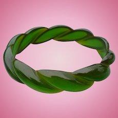 Translucent Green Rope Bakelite Bracelet