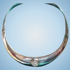 Sterling Rhinestone Collar Necklace Mexico