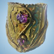Brutalist Ernandez Brass Cuff Amethyst Crystals