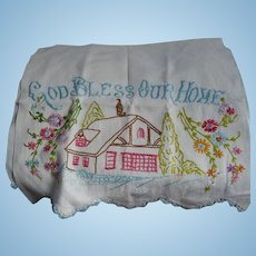 God Bless Our Home Embroidered Towel