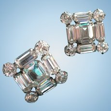 Weiss Square Rhinestone Earrings
