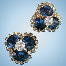 Vendome Blue Rhinestone Earrings