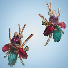 Sterling Rhinestone Bug Earrings