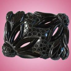 Black Deco Bakelite Pin