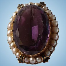 Victorian Amethyst Pearl Pin