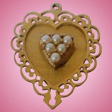 14K Heart Charm Pearls