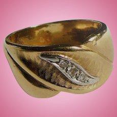 Gold Diamond Wedding Band 6 1/2
