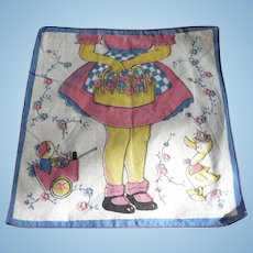 Little Girl Flowers Ducks Handkerchief