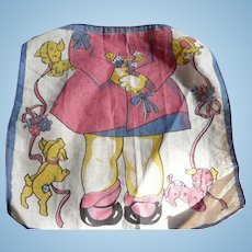 Girl Flowers Dogs Handkerchief