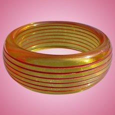 Bakelite Applejuice Carved Bracelet