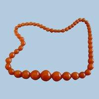 Orange Bakelite Beaded Necklace
