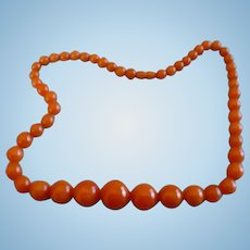 Orange Bakelite Beaded Necklace