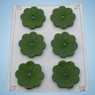 6 Green Wood Buttons