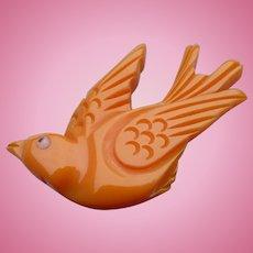 Flying Bakelite Bird Pin