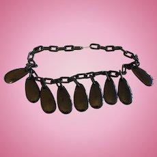 Black Bakelite Drops Necklace