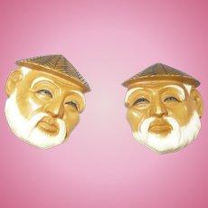 Bakelite Asian Man Earrings