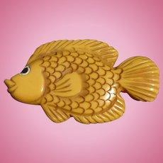 Bakelite Carved Fish Pin