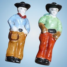Bisque Cowboy Figures Occupied Japan