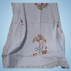 Embroidered Apple Tree  Tablecloth
