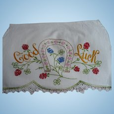 Embroidered Good Luck Towel