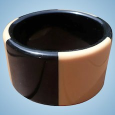 Wide Black Cream Bakelite Bracelet