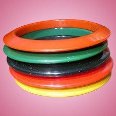 Set 5 Bakelite Bracelets