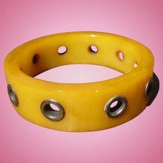 Bakelite Metal Grommet Bracelet