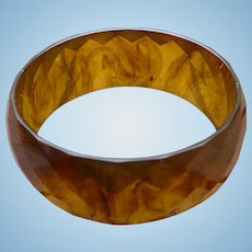Light Tortoise Bakelite Facet Bracelet