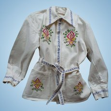 Embroidered Snap Shirt Jacket