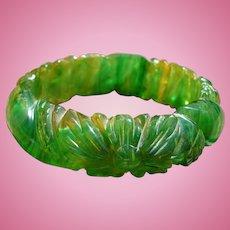 Green Translucent Bakelite Bracelet Carved