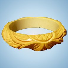 Bakelite Carved Cream Bracelet