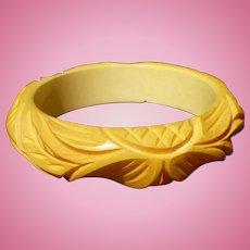 Bakelite Carved Cream Bracelet