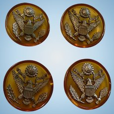 Bakelite Metal American Eagle Buttons