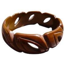 Carved Brown Bakelite Bracelet
