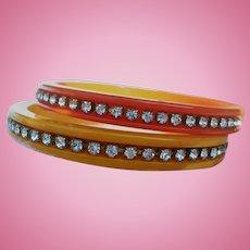 Bakelite Rhinestone Spacer Bracelets