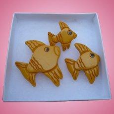 Three Bakelite Fish Pins
